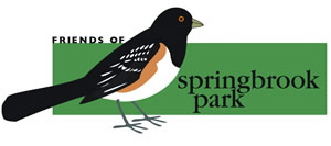 The Friends of Springbrook Park logo, with a spotted Towhee